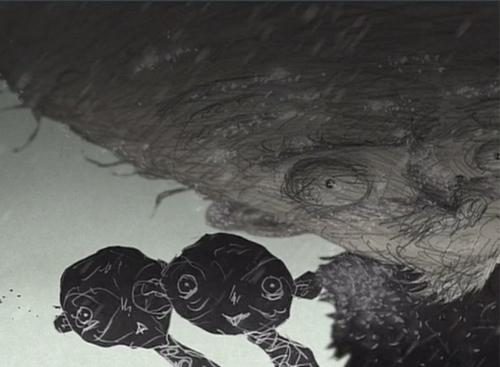 """A revelação imediata da proposta: o doutor e suas """"sombras"""" num dos primeiros frames da animação."""