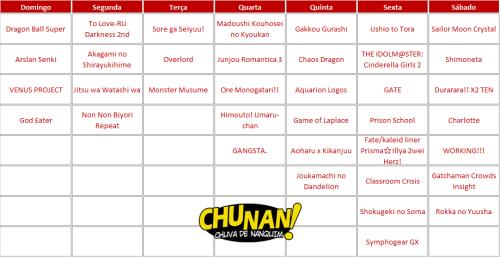 Calendário Animes Julho 2015
